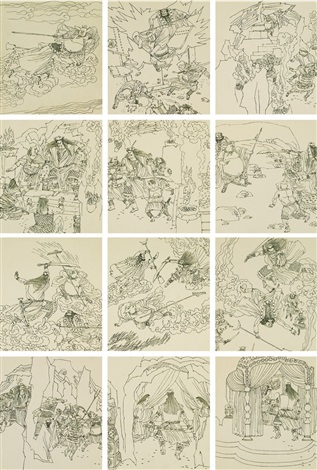 西游记·八戒义激美猴王连环画 原稿全 original work of the comic book strip journey to the west·monk pig goading monkey king complete 114 works by yu shui and lin yuan