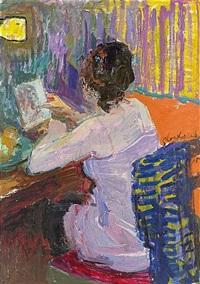 interiör med sittande kvinna by nicolas gloutchenko
