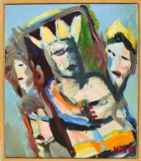 königsgrab - der könig liegt mit gefalteten händen auf der bahre und wird von den anderen betrauert by kilian lipp