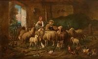 schafherde im stall mit federvieh und junger bäuerin by louis (ludwig) reinhardt