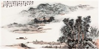 landscape, calligraphy by liu taixi and zhang daqian