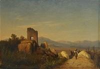 sydländskt landskap med ruin by joseph magnus stack