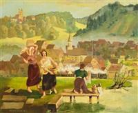 oberschwäbische landschaft mit kirchdorf und burg, im vordergrund wäscherinnen am fluss by martin arnold