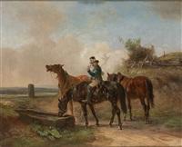 postillon mit drei pferden an der tränke by ernst bosch
