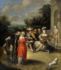 musiksällskap i parklandskap by matheus van helmont