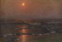 böljande hav i solnedgång by alexander harrison
