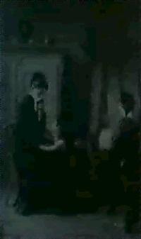 in einem interieur mit einfachem weichholzschrank und    himmelbett,...sitzen zwei junge frauen in trauerkleidung by josef pilz