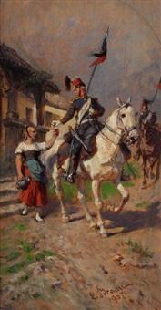 kavallerist und junge wirtin by louis (ludwig) braun