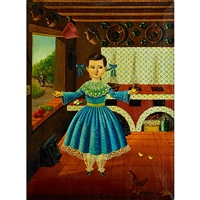 a girl in a blue dress in a country kitchen by agapito labios
