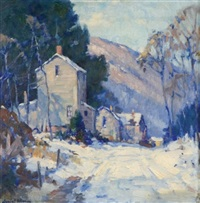 country road in winter by junius james allen