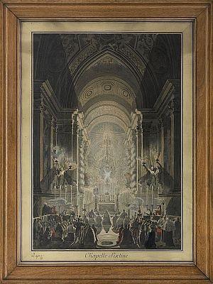 la chapelle pauline illuminée dans le vatican pedant la célébration de la messe by louis jean desprez