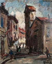 street scene with figures by albert vagh