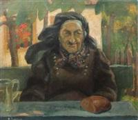 frau an einem tisch in blühendem garten sitzend by alexander desclabissac