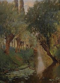 kanallandskap med pilar by adolphe frédéric lejeune