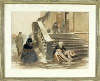 bettelnder mann mit kind im winter vor einer kirche sitzend by giuseppe mazzola