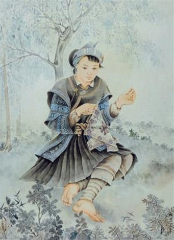 苗族少女 the miao girl by pang xunqin