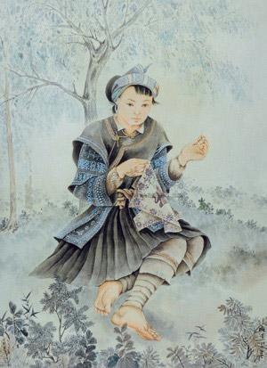 苗族少女 the miao girl by pang xunqin