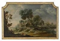 pastoralt landskap med gårdsmiljö och fiskare - dörröverstycke by lorens (lars) gottman
