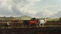 bauern mit ihren pferden beim pflügen in hügeliger landschaft by albert dunington