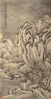 寒山雪霁 (landscape) by liu du