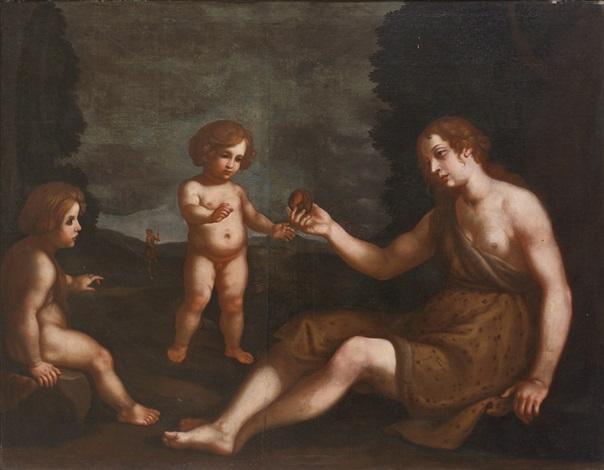 eva und ihre kinder kain und abel im hintergrund adam by michelangelo merisi da caravaggio