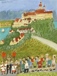 pilgergruppe vor kloster andechs by max raffler