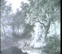 platzhirsch mit rudel an der tranke im           herbstlichen hochwald by johann jakob vollweider