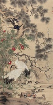五伦图 (crane and pine) by que lan