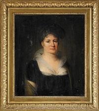 porträtt av friherrinnan sofia lovisa ramsay, esbo gård finland iklädd svart klänning, gul sjal och turban - midjebild by carl fredrik van breda