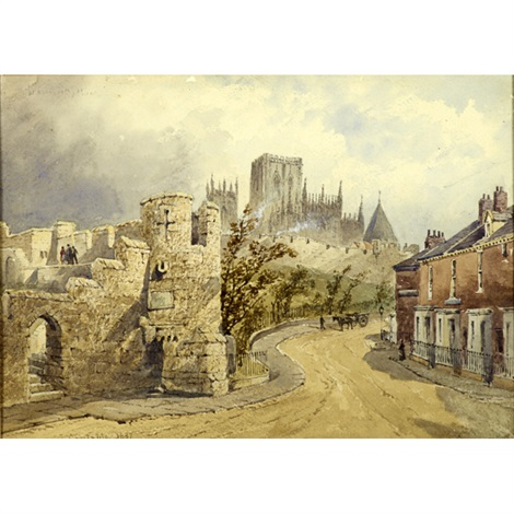 a castle ruin and town in a landscape by john constable