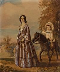 portrait einer eleganten dame und ihres pony reitenden sohnes. blick von der höhe auf herrschaftliches anwesen by john cawse