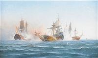 skeppet wachtmeisters strid mot en rysk eskader 1719 by ludvig otto richarde