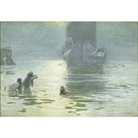 illustration of a viking ship returning home by john charles dollman