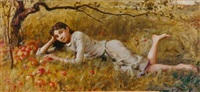 at rest in the apple orchard by douglas volk