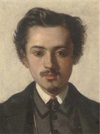 portrait of francesco coppola castaldo, bust-length, in a black coat and white collar by alfonso simonetti