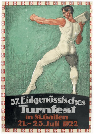 57 eidgenössisches turnfest in st gallen poster by fritz brunnhofer