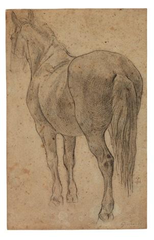 pferdestudie kopfstudie eines alten mannes verso by théodore géricault