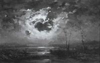 geheimnisvolle moorlandschaft im mondschein by théodore auguste rousseau