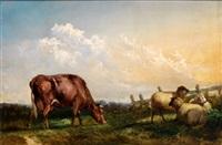 weidelandschaft mit kuh und schafen neben gatter by robert payton reid