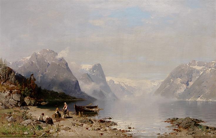 sommerliche fjordlandschaft mit angelegtem nachen und figurenstaffage by georg anton rasmussen