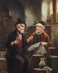 zwei ältere herren im weinkeller by lajos kolozsvary