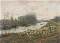 schäfer mit seiner herde am neckar vor esslingen by julius kornbeck