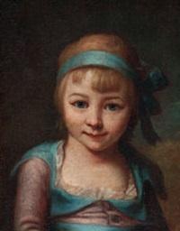 bildnis eines kleinen mädchens mit blauer schleife im haar by bernard arlaud