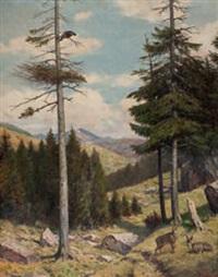 alplandschaft mit gemsen und auerhahn by wilhelm arnold