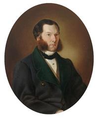 portrait eines soignierten herren mit backenbart, in dunkler jacke by wenzel kroupa