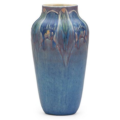 art deco vase with stylized blossoms by newcomb college pottery
