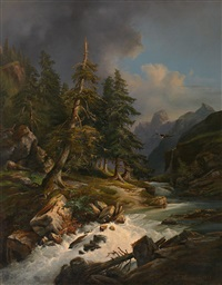 hochgebirgslandschaft mit tosendem wildbach und malerischem lichteinfall by karl franz emanuel haunold