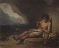 hirtenjunge mit seinem hund in einer höhle, davor seine schweineherde by charles augustin wauters
