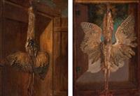 jagdstillleben mit aufgehängten vögeln (+ another; pair) by jacob samuel beck