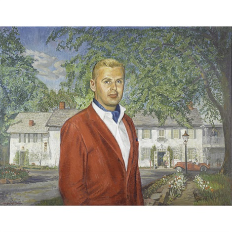portrait of local restaurateur, larry bemis, before the black bass hotel in lumberville, pennsylvania by faye (swengel) badura